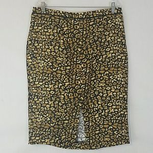Who What Wear Leopard Print Pencil Skirt